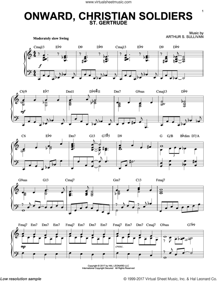 Onward, Christian Soldiers [Jazz version] sheet music for piano solo by Sabine Baring-Gould and Arthur Sullivan, intermediate skill level