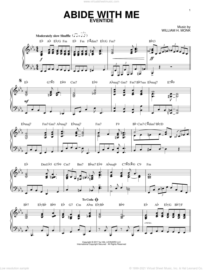Abide With Me [Jazz version] sheet music for piano solo by Henry F. Lyte and William Henry Monk, intermediate skill level