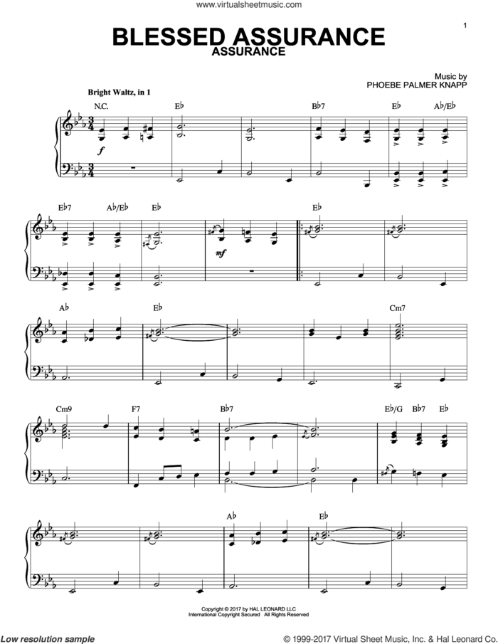 Blessed Assurance [Jazz version] sheet music for piano solo by Fanny J. Crosby and Phoebe Palmer Knapp, intermediate skill level