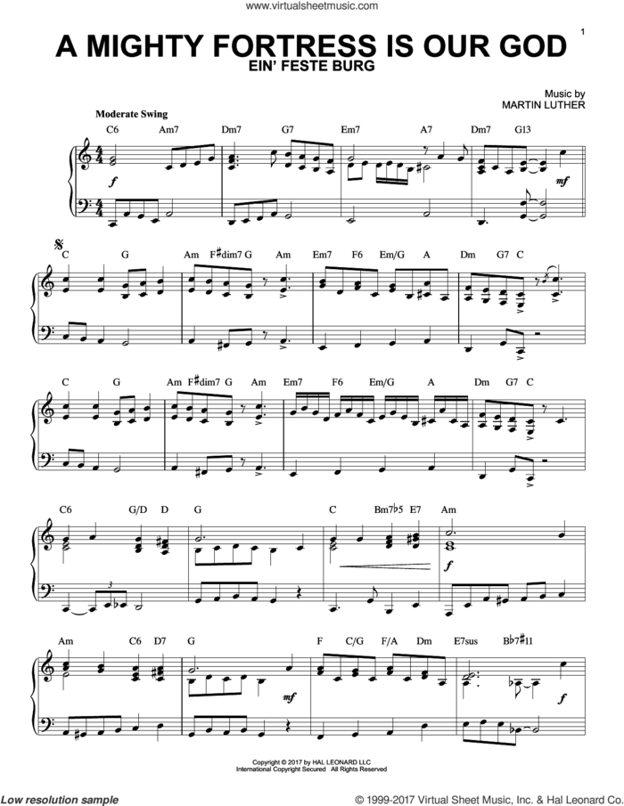 A Mighty Fortress Is Our God [Jazz version] sheet music for piano solo by Frederick H. Hedge, Martin Luther and Miscellaneous, intermediate skill level