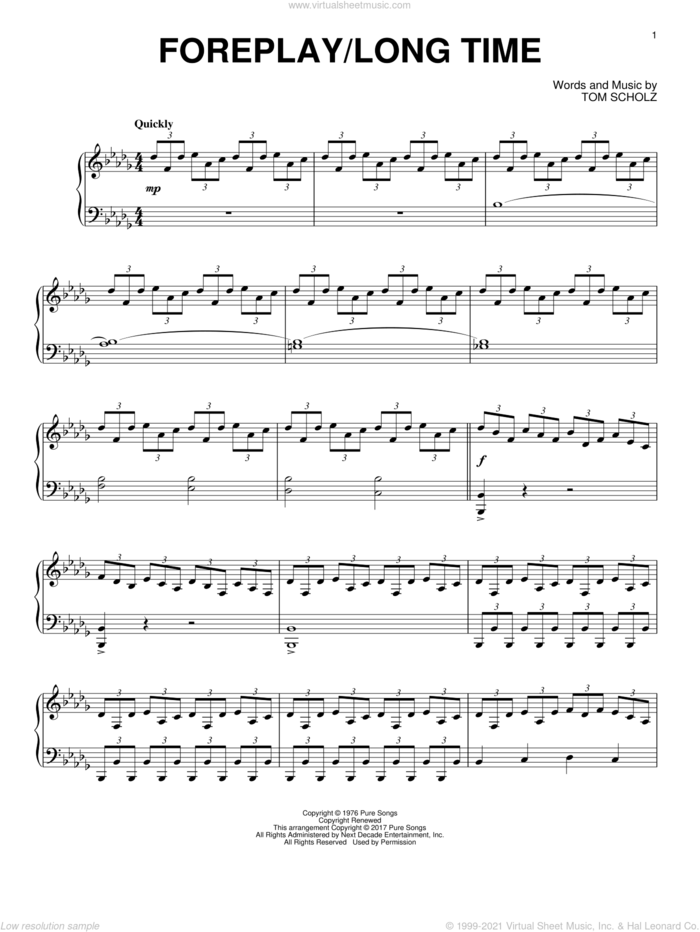 Foreplay/Long Time (Long Time) sheet music for piano solo by Boston and Tom Scholz, intermediate skill level