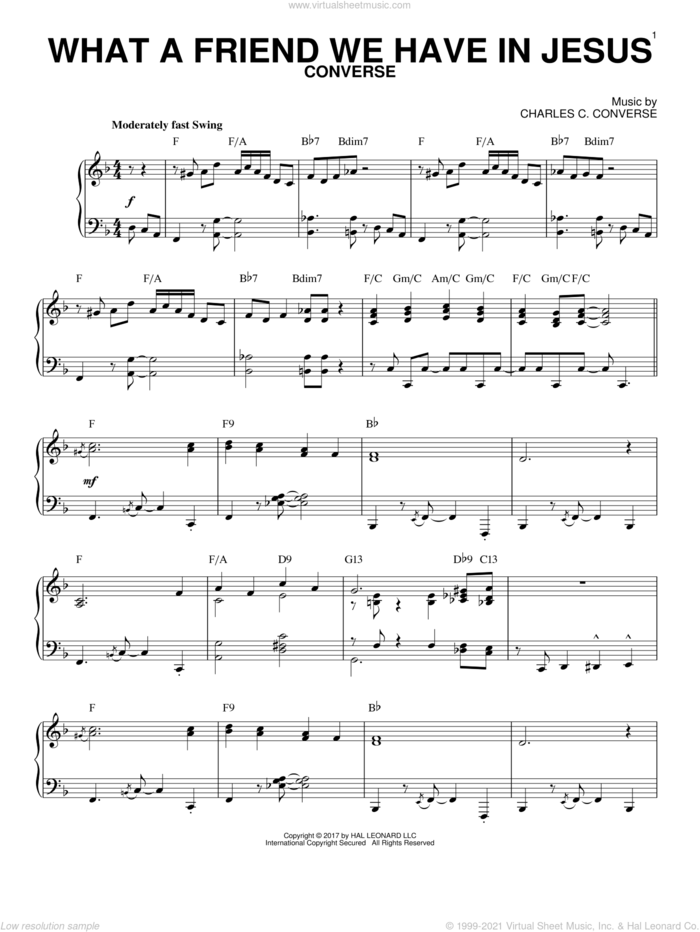 What A Friend We Have In Jesus [Jazz version] (arr. Brent Edstrom) sheet music for piano solo by Charles C. Converse and Joseph M. Scriven, intermediate skill level