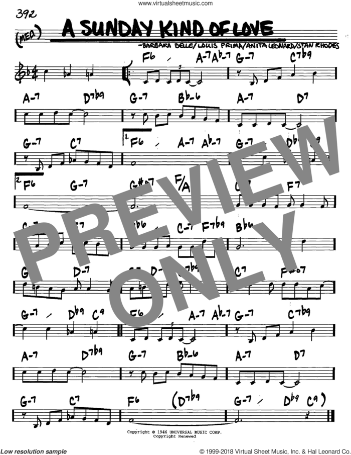 A Sunday Kind Of Love sheet music for voice and other instruments (in C) by Louis Prima, Anita Nye, Barbara Belle and Stan Rhodes, intermediate skill level