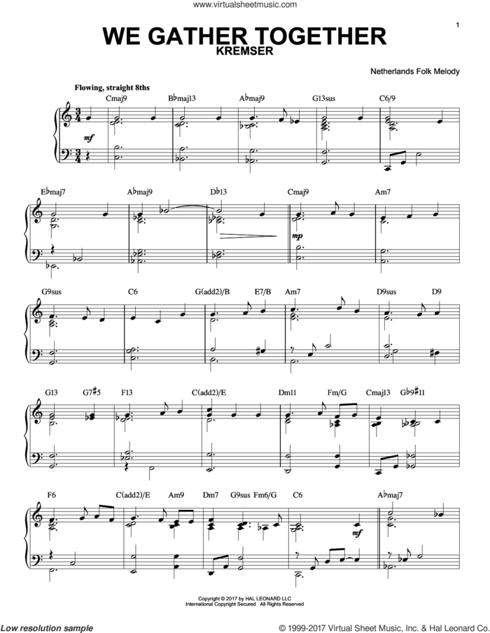We Gather Together [Jazz version] sheet music for piano solo by Theodore Baker, Eduard Kremser, Miscellaneous and Nederlandtsch Gedenckclanck, intermediate skill level