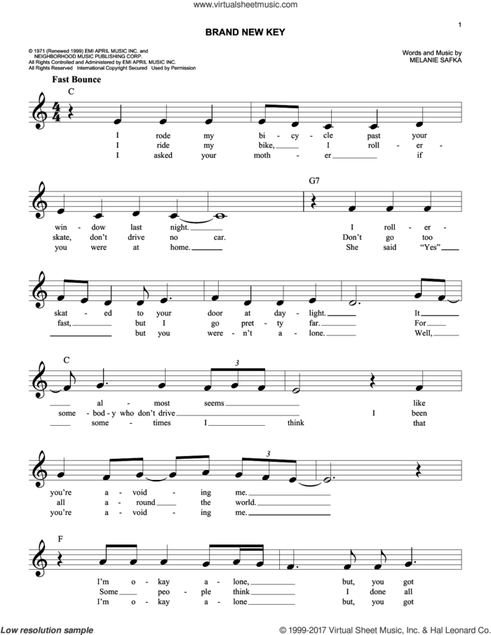 Brand New Key sheet music for voice and other instruments (fake book) by Melanie and Melanie Safka, intermediate skill level
