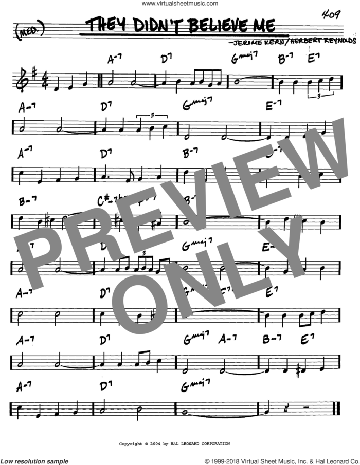 They Didn't Believe Me sheet music for voice and other instruments (in C) by Jerome Kern and Herbert Reynolds, intermediate skill level