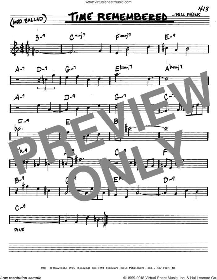 Time Remembered sheet music for voice and other instruments (in C) by Bill Evans, intermediate skill level