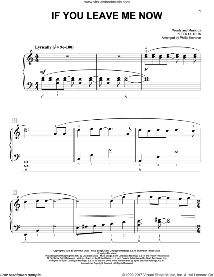 If You Leave Me Now [Classical version] (arr. Phillip Keveren) sheet music for piano solo by Peter Cetera, Phillip Keveren and Chicago, easy skill level