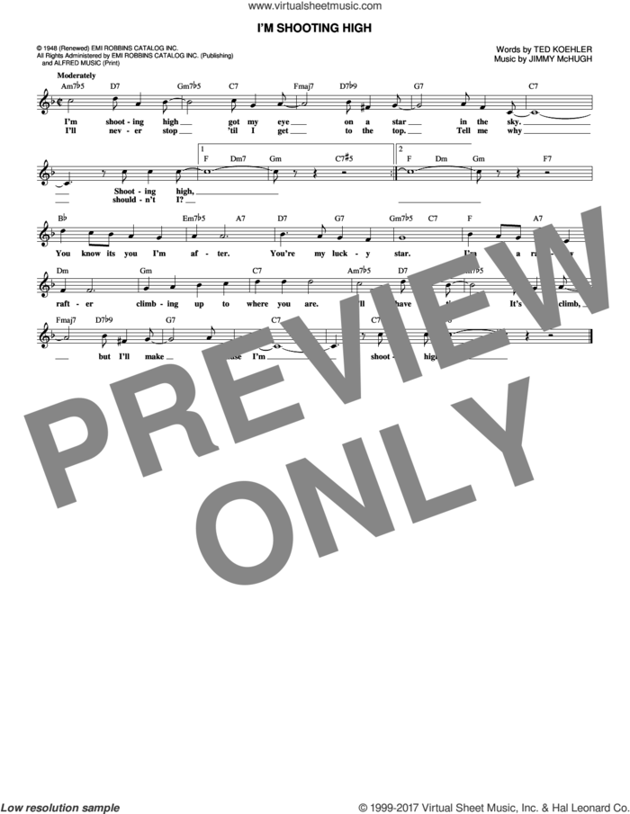 I'm Shooting High sheet music for voice and other instruments (fake book) by Jimmy McHugh and Ted Koehler, intermediate skill level