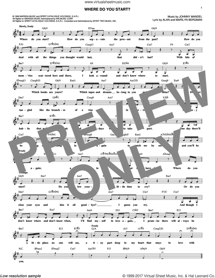 Where Do You Start? sheet music for voice and other instruments (fake book) by Johnny Mandel, Alan Bergman and Marilyn Bergman, intermediate skill level