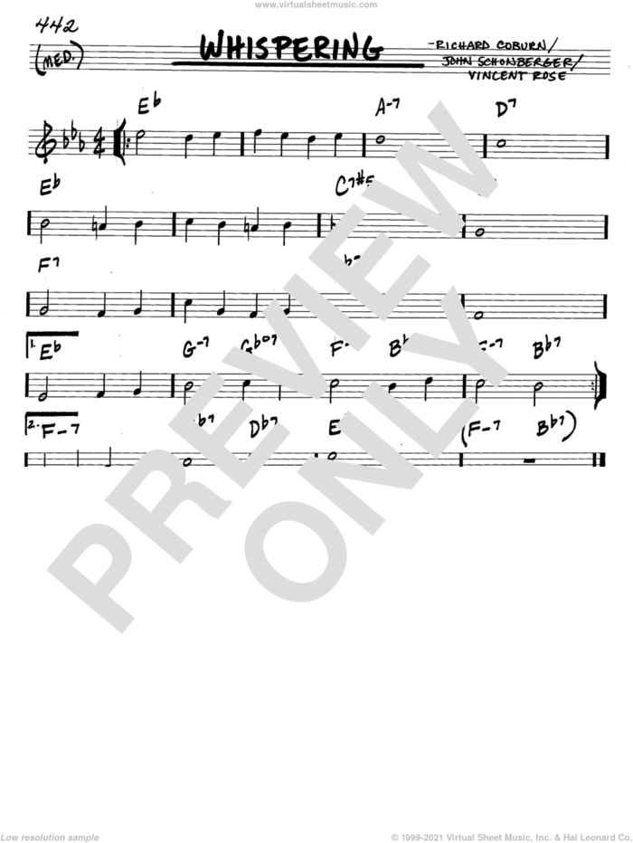 Whispering sheet music for voice and other instruments (in C) by Richard Coburn, John Schonberger and Vincent Rose, intermediate skill level