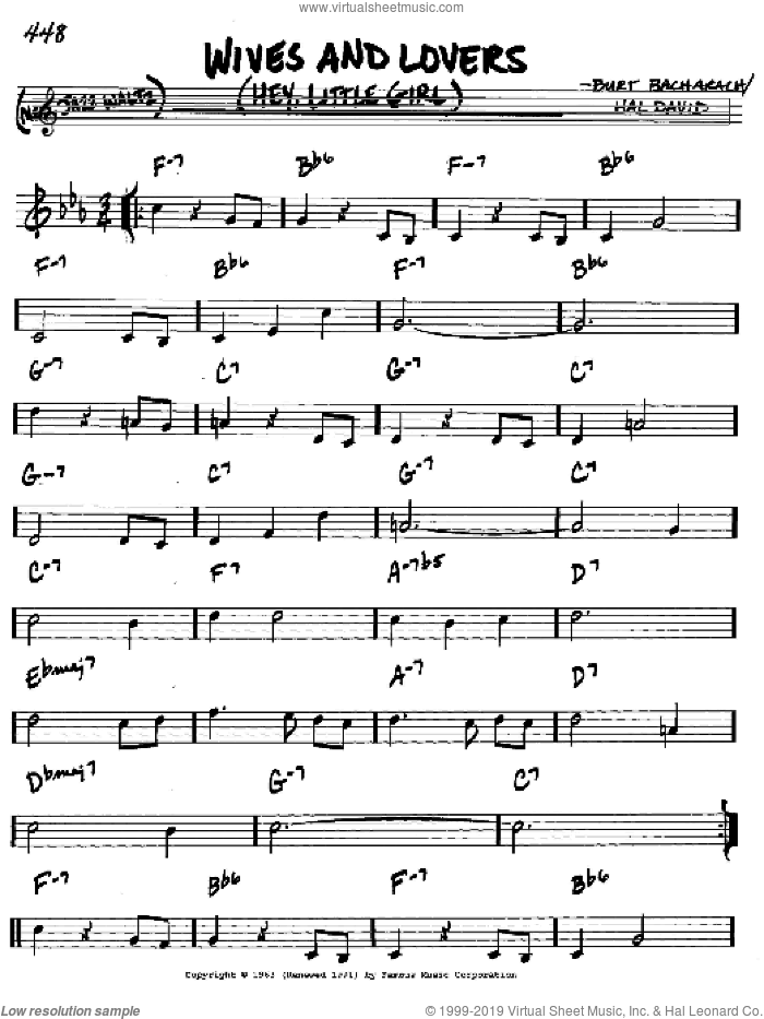 Wives And Lovers (Hey, Little Girl) sheet music for voice and other instruments (in C) by Bacharach & David, Burt Bacharach and Hal David, intermediate skill level