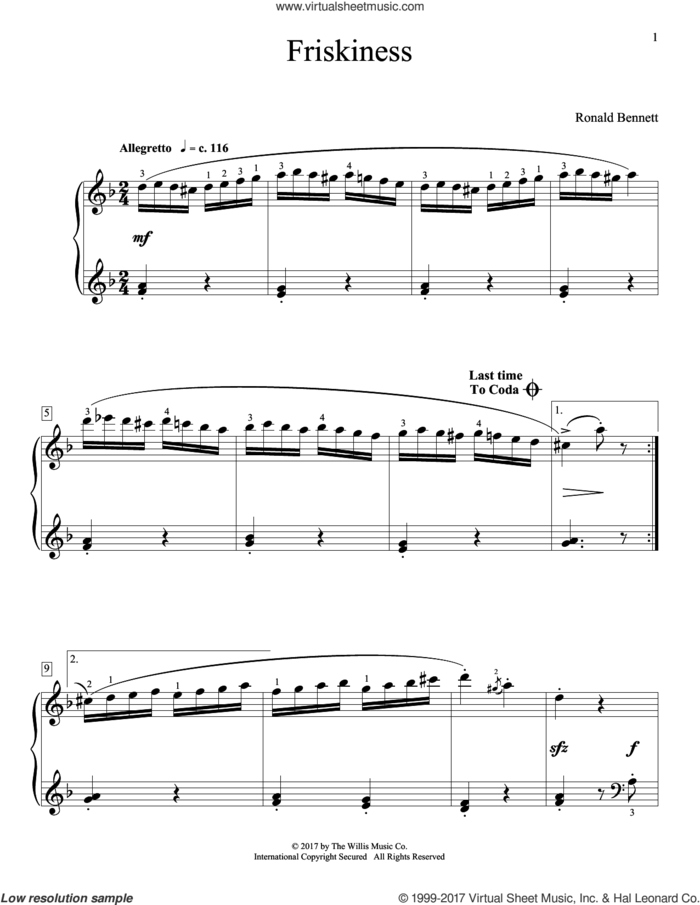 Friskiness sheet music for piano solo (elementary) by Ronald Bennett, beginner piano (elementary)