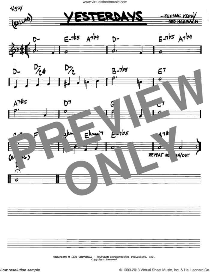 Yesterdays sheet music for voice and other instruments (in C) by Jerome Kern and Otto Harbach, intermediate skill level