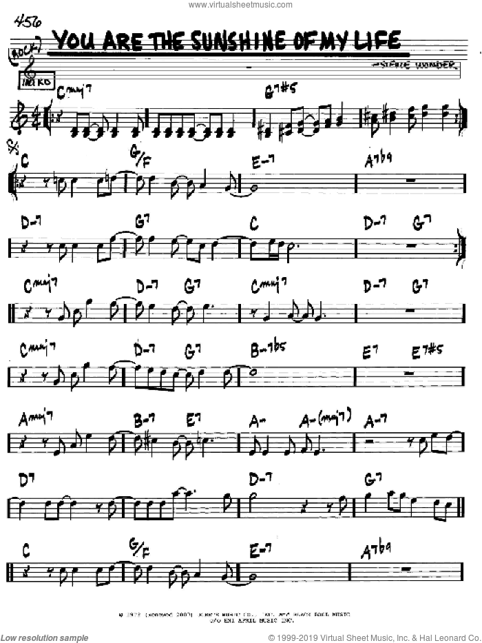 You Are The Sunshine Of My Life sheet music for voice and other instruments (in C) by Stevie Wonder, intermediate skill level