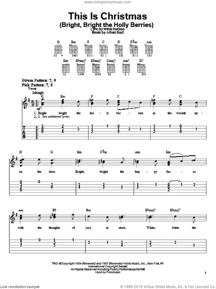 This Is Christmas (Bright, Bright The Holly Berries) sheet music for guitar solo (chords) by Alfred Burt and Wihla Hutson, easy guitar (chords)