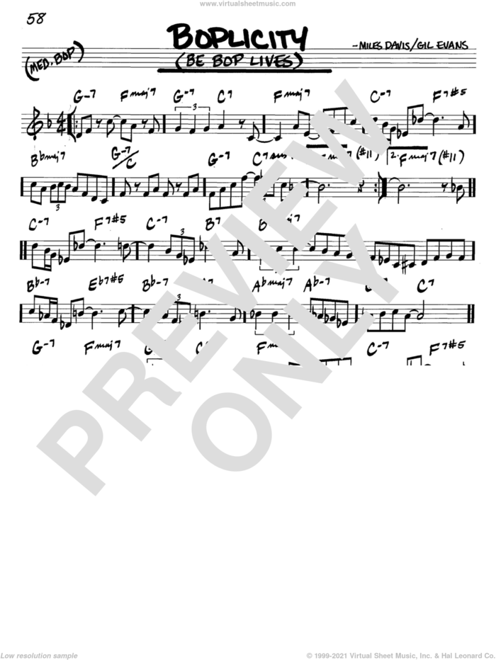 Boplicity (Be Bop Lives) sheet music for voice and other instruments (in C) by Miles Davis and Gil Evans, intermediate skill level