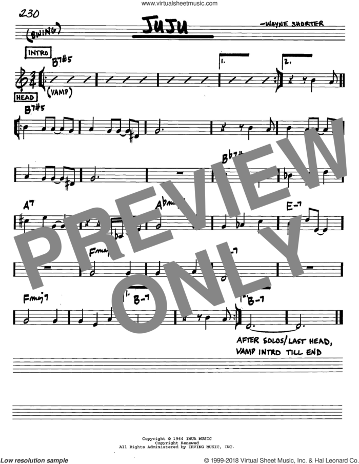 Juju sheet music for voice and other instruments (in C) by Wayne Shorter, intermediate skill level