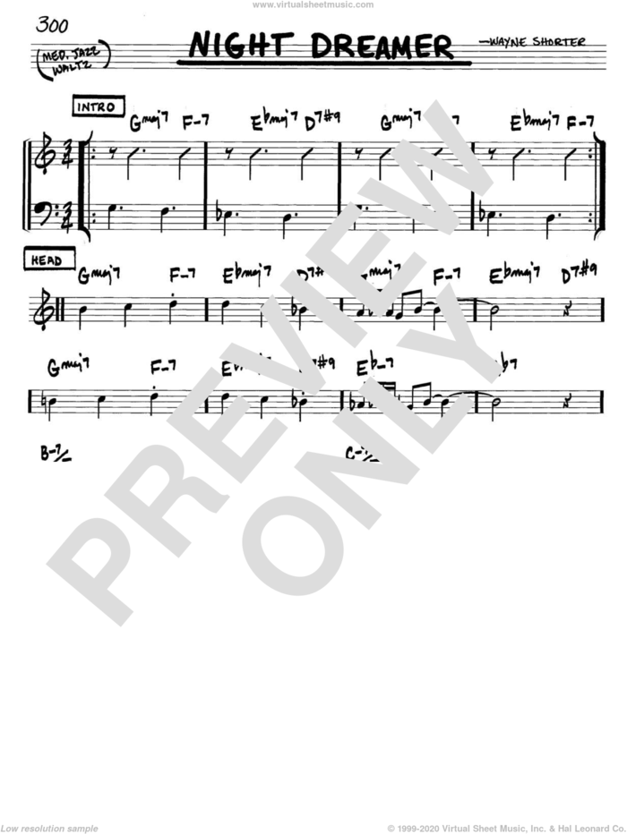 Night Dreamer sheet music for voice and other instruments (in C) by Wayne Shorter, intermediate skill level