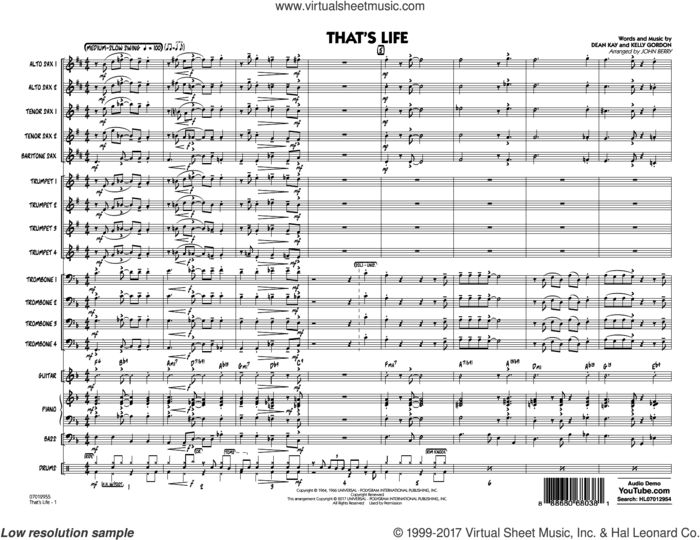 That's Life (COMPLETE) sheet music for jazz band by Frank Sinatra, Dean Kay, John Berry and Kelly Gordon, intermediate skill level
