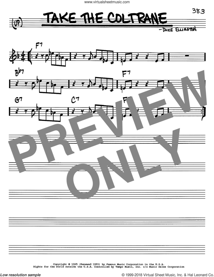 Take The Coltrane sheet music for voice and other instruments (in C) by Duke Ellington, intermediate skill level