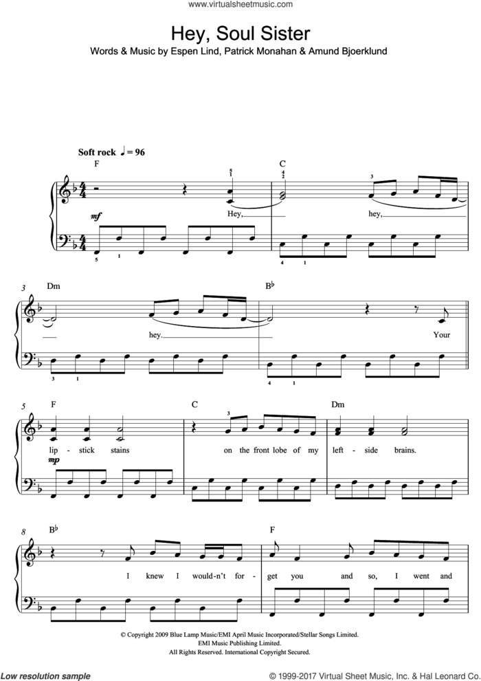 Hey, Soul Sister sheet music for piano solo (beginners) by Train, Amund Bjoerklund, Espen Lind and Pat Monahan, beginner piano (beginners)