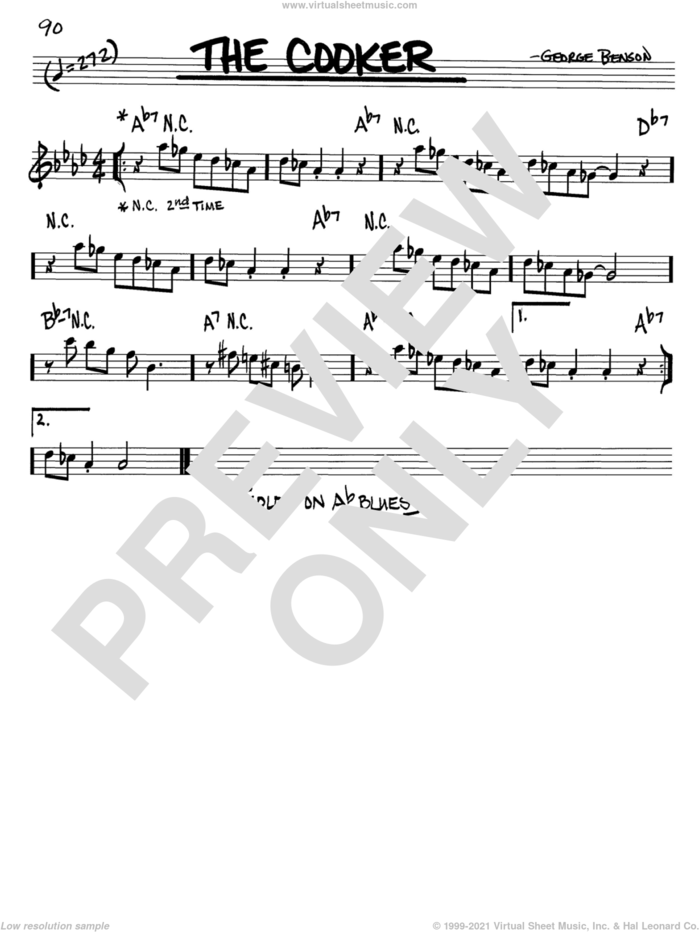 The Cooker sheet music for voice and other instruments (in C) by George Benson, intermediate skill level