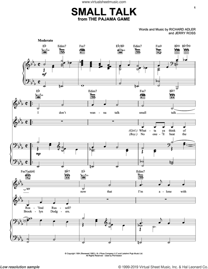 Small Talk sheet music for voice, piano or guitar by Adler & Ross, Jerry Ross and Richard Adler, intermediate skill level