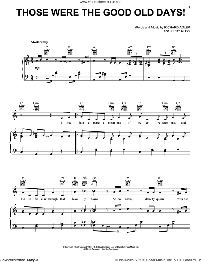 Those Were The Good Old Days! sheet music for voice, piano or guitar by Adler & Ross, Jerry Ross and Richard Adler, intermediate skill level