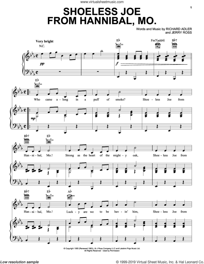 Shoeless Joe From Hannibal, Mo. sheet music for voice, piano or guitar by Adler & Ross, Jerry Ross and Richard Adler, intermediate skill level