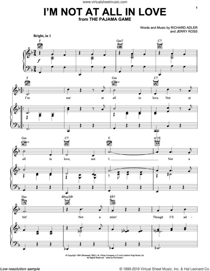 I'm Not At All In Love sheet music for voice, piano or guitar by Adler & Ross, Jerry Ross and Richard Adler, intermediate skill level