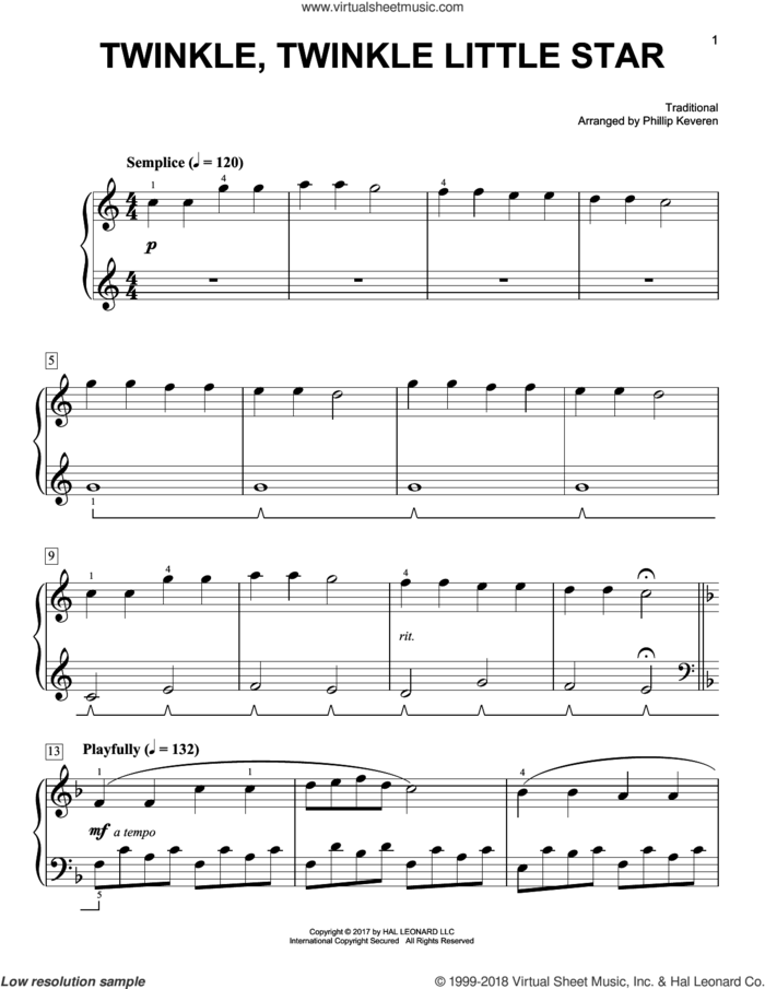 Twinkle, Twinkle Little Star [Classical version] (arr. Phillip Keveren) sheet music for piano solo by Phillip Keveren and Miscellaneous, easy skill level