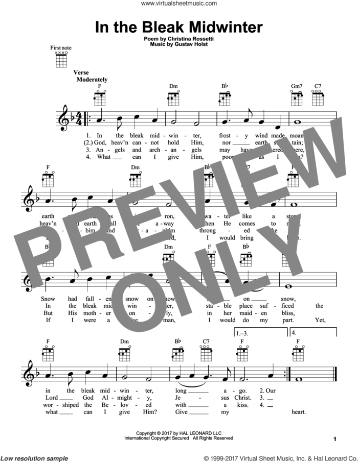 In The Bleak Midwinter sheet music for ukulele by Gustav Holst and Christina Rossetti, intermediate skill level