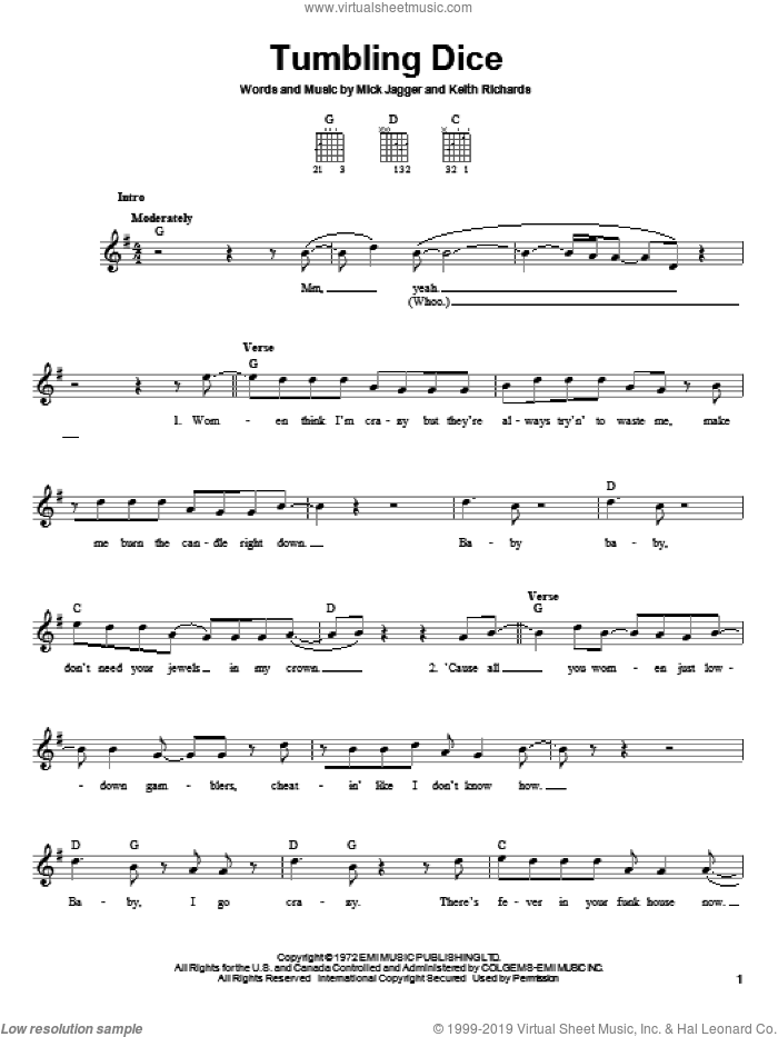 Tumbling Dice sheet music for guitar solo (chords) by The Rolling Stones, Keith Richards and Mick Jagger, easy guitar (chords)