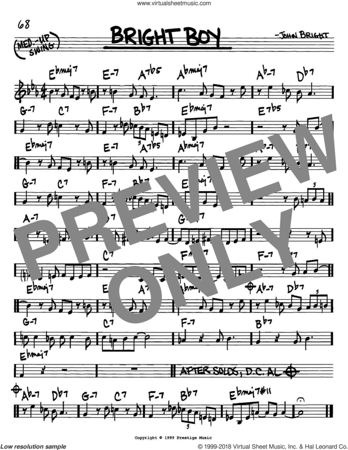 Bright Boy sheet music for voice and other instruments (in C) by John Bright, intermediate skill level