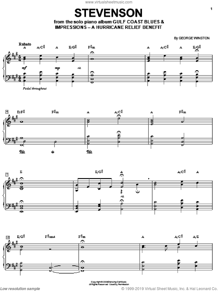 Stevenson sheet music for piano solo by George Winston, intermediate skill level