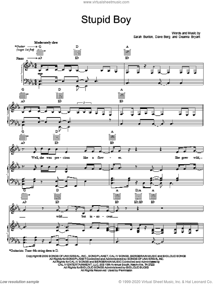 Stupid Boy sheet music for voice, piano or guitar by Keith Urban, Dave Berg, Deanna Bryant and Sarah Buxton, intermediate skill level