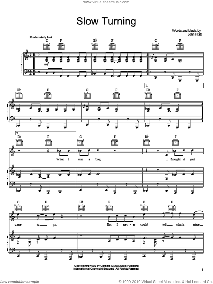Slow Turning sheet music for voice, piano or guitar by Keith Urban and John Hiatt, intermediate skill level