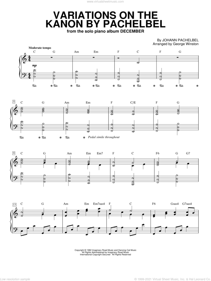 Variations On The Kanon By Pachelbel, (intermediate) sheet music for piano solo by George Winston and Johann Pachelbel, classical score, intermediate skill level