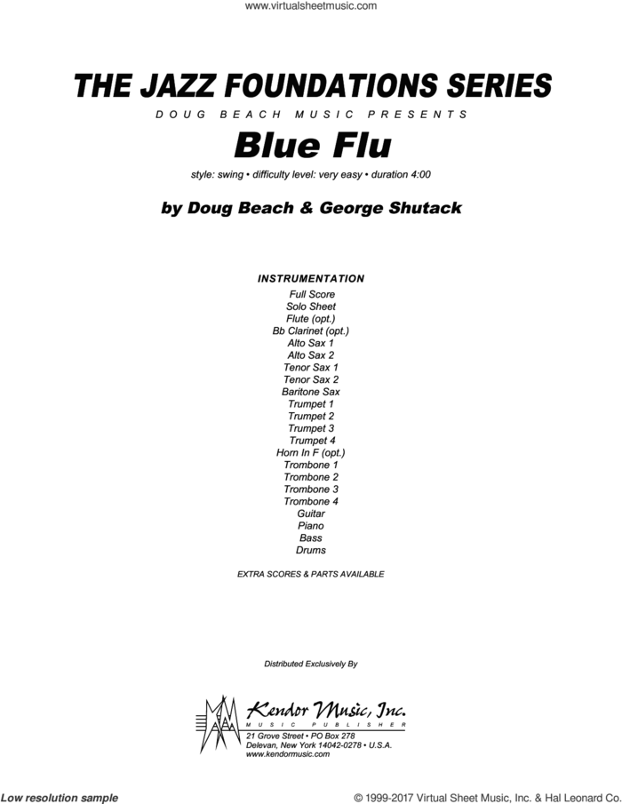 Blue Flu (COMPLETE) sheet music for jazz band by Doug Beach & George Shutack, intermediate skill level