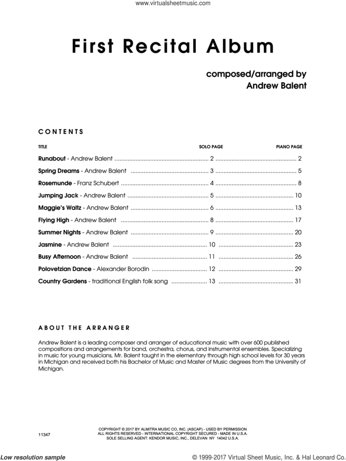 First Recital Album (complete set of parts) sheet music for alto saxophone and piano by Andrew Balent, classical score, intermediate skill level