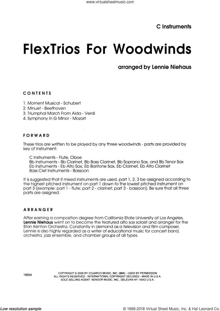 FlexTrios For Woodwinds (playable by any three woodwind instruments) (complete set of parts) sheet music for wind ensemble by Lennie Niehaus, classical score, intermediate skill level