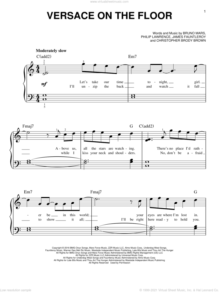 Versace On The Floor sheet music for piano solo by Bruno Mars, Christopher Brody Brown, James Fauntleroy and Philip Lawrence, easy skill level