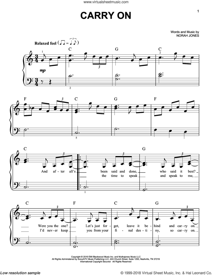 Carry On sheet music for piano solo by Norah Jones, easy skill level