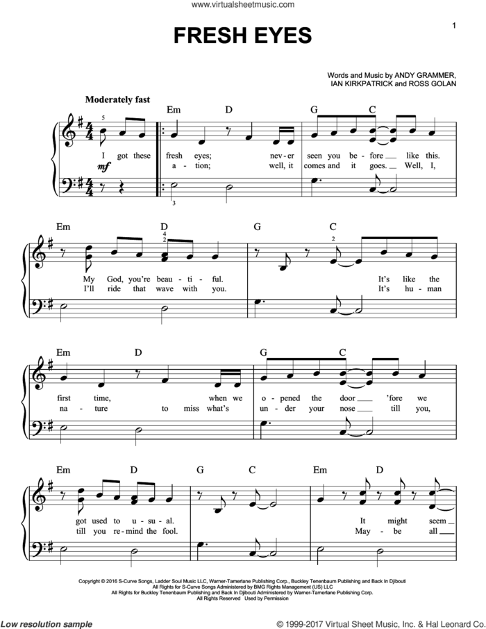 Fresh Eyes sheet music for piano solo by Andy Grammer, Ian Kirkpatrick and Ross Golan, easy skill level