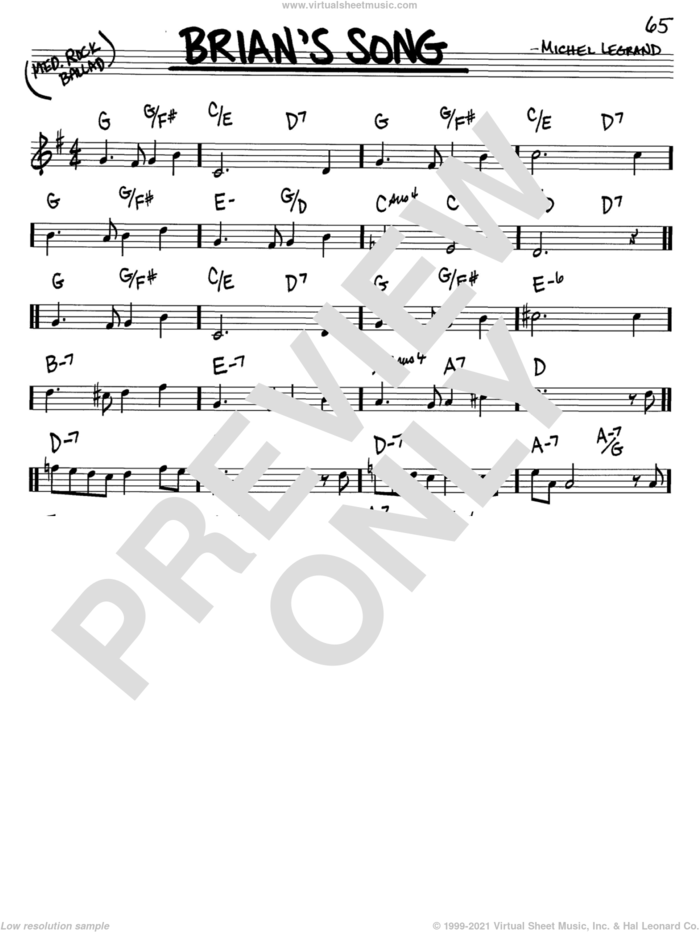 Brian's Song sheet music for voice and other instruments (in C) by Michel LeGrand, intermediate skill level