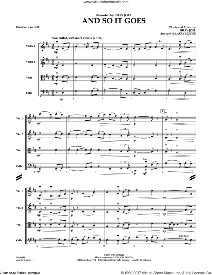 And So It Goes (COMPLETE) sheet music for string quartet (Strings) by Billy Joel and Larry Moore, intermediate orchestra