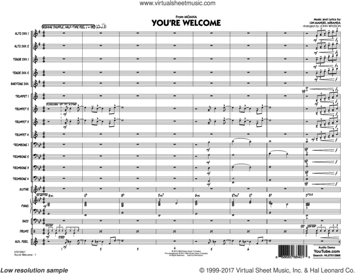 You're Welcome (from Moana)  sheet music for jazz band (conductor score, full score) by Lin-Manuel Miranda and John Wasson, intermediate skill level