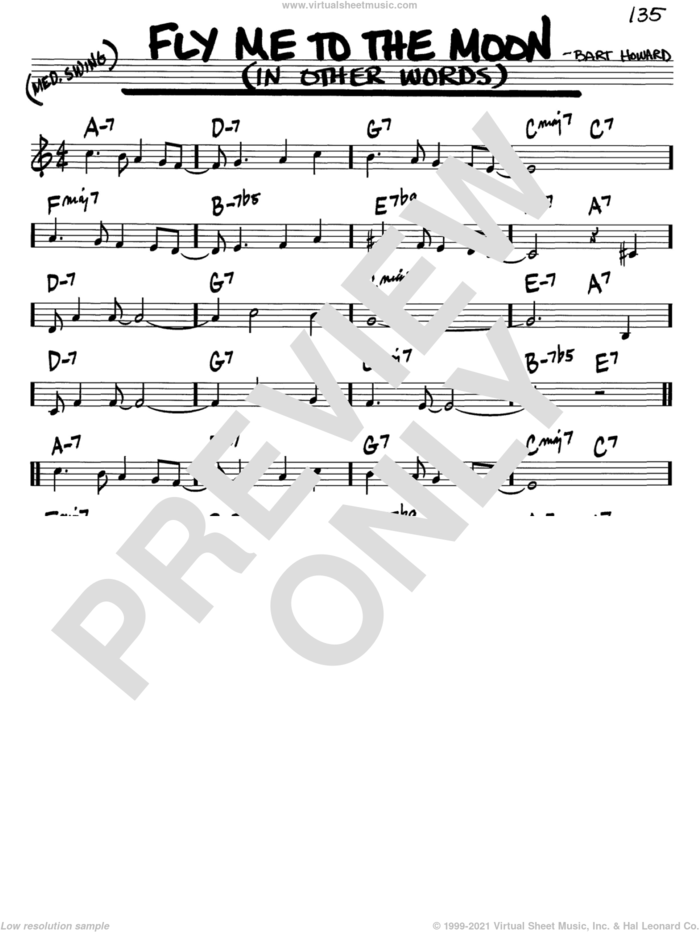 Fly Me To The Moon (In Other Words) sheet music for voice and other instruments (in C) by Frank Sinatra, Tony Bennett and Bart Howard, wedding score, intermediate skill level