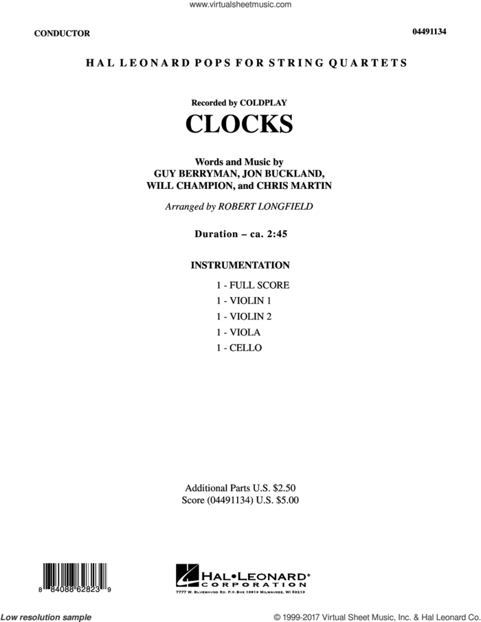 Clocks (COMPLETE) sheet music for string quartet (Strings) by Coldplay, Chris Martin, Guy Berryman, Jon Buckland, Robert Longfield and Will Champion, intermediate orchestra